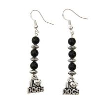 Sterling I Heart Dogs Earrings - Black Onyx