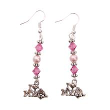 Sterling I Heart My Dog Earrings - Pink Swarovski Crystals