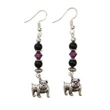 Sterling Bulldog Earrings - Black and Purple Swarovski Crystals