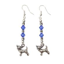 Sterling Chihuahua Earrings - Blue Swarovski Crystals
