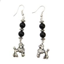 Sterling Poodle Earrings - Black Onyx