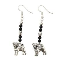 Sterling Pug Earrings - Black Onyx