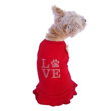 Love Paws Rhinestone Tank Dog Dress by The Dog Squad - Red