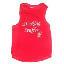 Stocking Stuffer Rhinestone Christmas Dog Tank - Red
