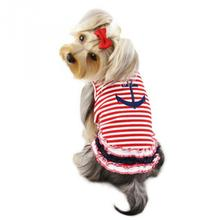 Stripy Sailor Dog Shirt with Ruffles by Klippo