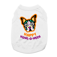 Sugar Skull Happy Howl-O-Ween Dog Shirt - White