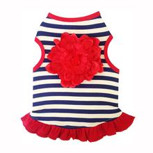 Navy and White Striped Tank Dog Dress - Red Flower