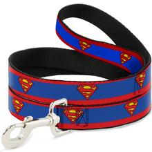 Superman Shield Dog Leash by Buckle-Down - Red Stripe