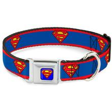 Superman Shield Seatbelt Buckle Dog Collar by Buckle-Down - Red Stripe