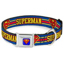 Superman Striped Seatbelt Buckle Dog Collar by Buckle-Down