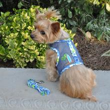 Cool Mesh Dog Harness with Leash by Doggie Design - Surfboard Blue and Green