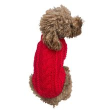 Irish Isle Handknit Mock Turtleneck Dog Sweater - Red