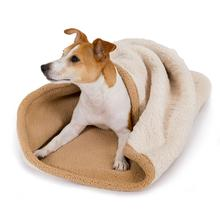 Tall Tails 3-In-1 Burrow Dog Bed - Cream Embossed Bone
