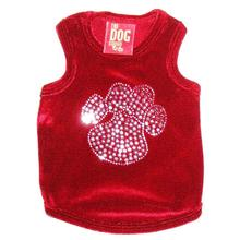 Red Velvet Sequin Paw Dog Tank