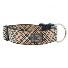 Tartan Wide Clip Adjustable Dog Collar - Tan