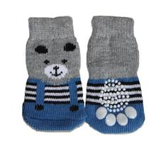 Teddy Bear Dog Socks - Blue