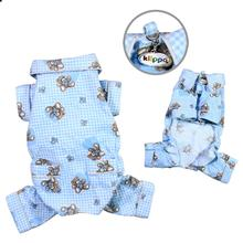 Teddy Bear Love Flannel Dog Pajamas - Light Blue