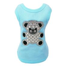 Teddy Bear Rhinestone Dog Tank by Hello Doggie - Aqua