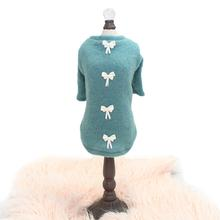 Dainty Bow Dog Sweater Tee by Hello Doggie - Teal
