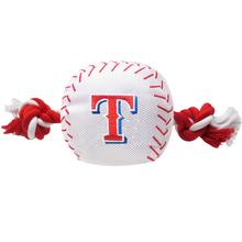Texas Rangers Nylon Plush Baseball Rope Dog Toy