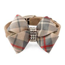 Scotty Nouveau Bow Luxury Dog Collar by Susan Lanci - Doe Plaid