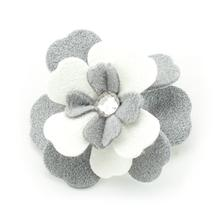 Special Occasion Tinkie's Garden Flower Dog Hair Bow by Susan Lanci - Platinum