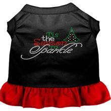 Tis The Season To Sparkle Rhinestone Dog Dress - Black and Red