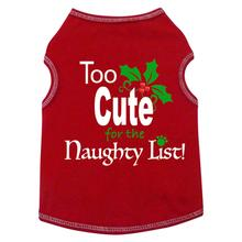 Too Cute For The Naughty List Dog Tank - Red