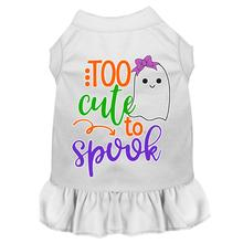 Too Cute to Spook Halloween Dog Dress - White