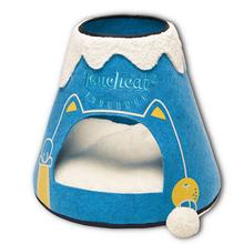 Touchcat 'Molten Lava'  Designer Cat Bed House with Teaser Toy - Blue