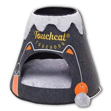 Pet Life Touchcat Molten Lava Designer Cat Bed House with Teaser Toy - Charcoal