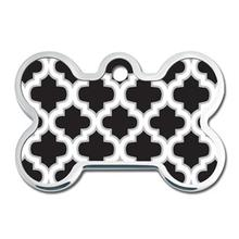 Trellis Bone Large Engravable Pet I.D. Tag - Black