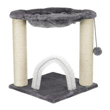 Trixie Baza Cat Scratching Post - Gray Cat Hammock with Brush Scratcher