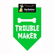 Troublemaker Dog Bandana - Green