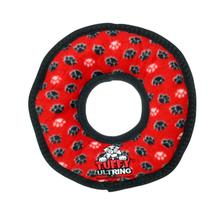 Tuffy Ultimate Ring Dog Toy - Red Paw Print