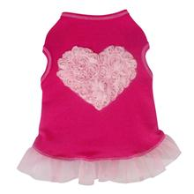 Tulle Rose Heart Tank Dog Dress - Hot Pink