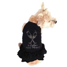 Toast the New Year Rhinestone Dog Dress by The Dog Squad