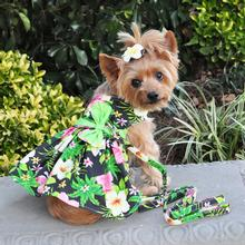 Twilight Black Hawaiian Hibiscus Dog Dress with Leash by Doggie Design