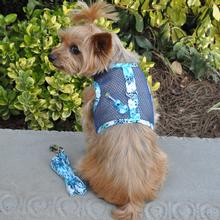 Cool Mesh Dog Harness with Leash by Doggie Design - Ukulele Blue Hibiscus