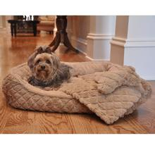 Ultra Soft Beige Faux Fur Plush Diamond Quilt Dog Bed with Bone and Blanket by Doggie Design