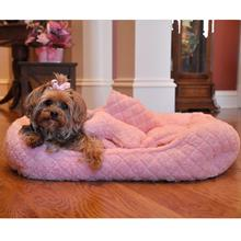 Ultra Soft Pink Faux Fur Plush Diamond Quilt Pet Bed with Bone and Blanket by Doggie Design