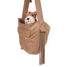 Ultrasuede Dog Cuddle Carrier with Fringe by Susan Lanci - Fawn