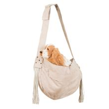 Ultrasuede Dog Cuddle Carrier with Fringe by Susan Lanci - Doe