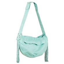 Ultrasuede Dog Cuddle Carrier with Fringe by Susan Lanci - Mint