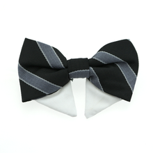 Dog Bow Tie Collar Attachment by Doggie Design - Black and Silver Stripe