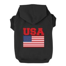 USA Flag Dog Hoodie - Black