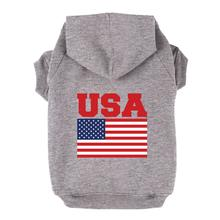 USA Flag Dog Hoodie - Gray