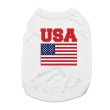 USA Flag Dog Shirt - White