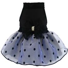 Velvet and Organza Polka Dot Dog Dress with Tulle Bow