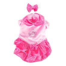 Velvet Princess Dog Costume Dress - Pink with Bow